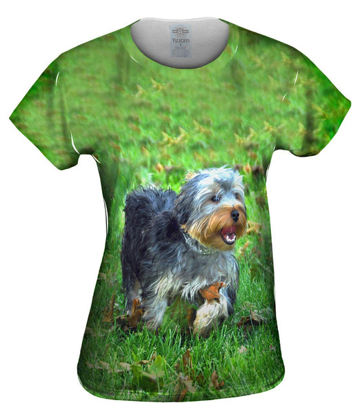 Curly Haired Yorkie Running Womens Top