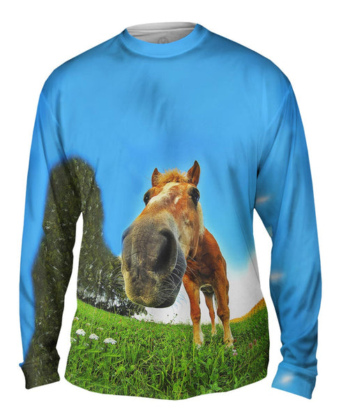 Funny Horse Snout Mens Long Sleeve