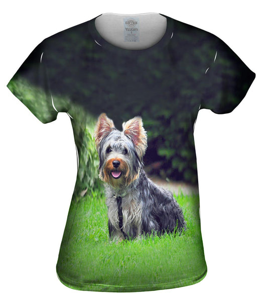 Long Hair Yorkie Loves The Yard Womens Top