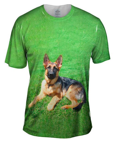 German Shepherd On Grass Mens T-Shirt