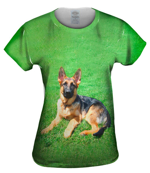 German Shepherd On Grass Womens Top