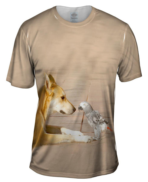 Parrot And Dog Meeting Of The Minds Mens T-Shirt