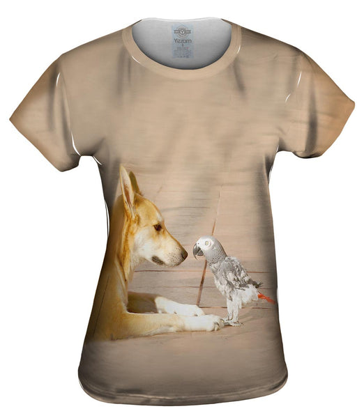 Parrot And Dog Meeting Of The Minds Womens Top