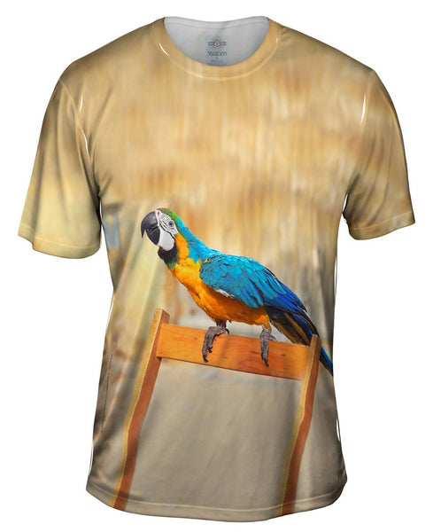 Chair Macaw Parrot Mens T-Shirt