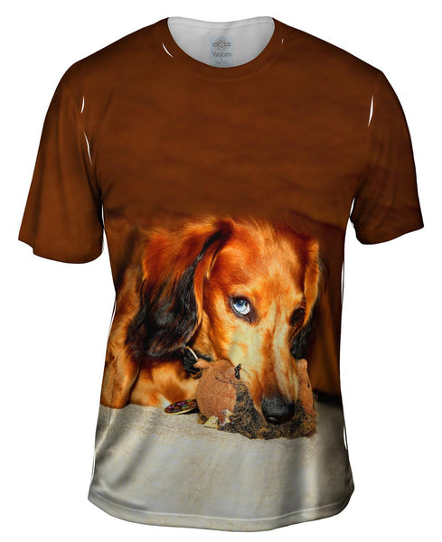 Dachshund With Chew Toy Mens T-Shirt