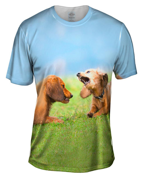 Dachschund Disagreement Mens T-Shirt