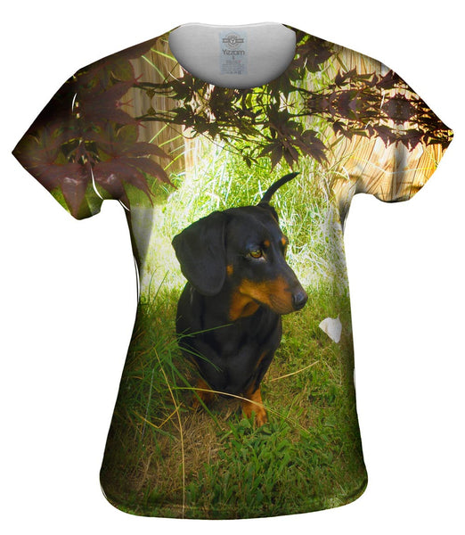 Black Dachshund Backyard Womens Top