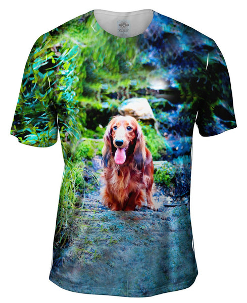 Dachshund In Forest Mens T-Shirt