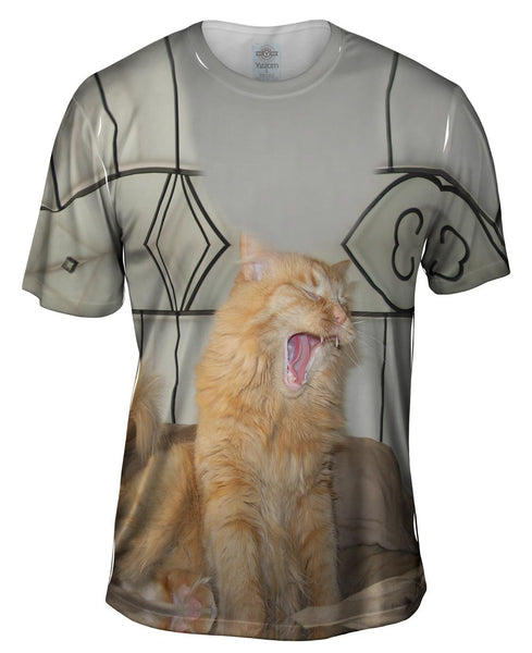 Yawning White Cat Mens T-Shirt
