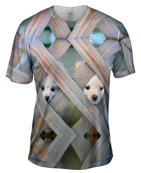 Pomeranian Peeking Through Fence Mens T-Shirt
