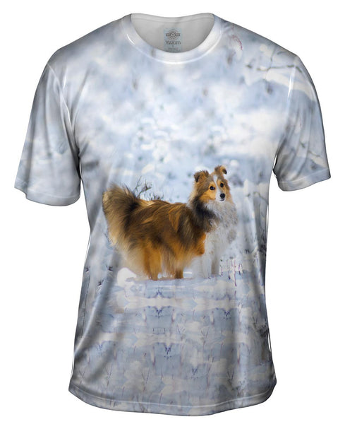 Snow Day Sheltie Mens T-Shirt