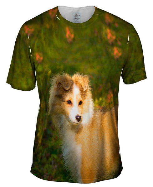 Waggish Sheltie Flowers Mens T-Shirt
