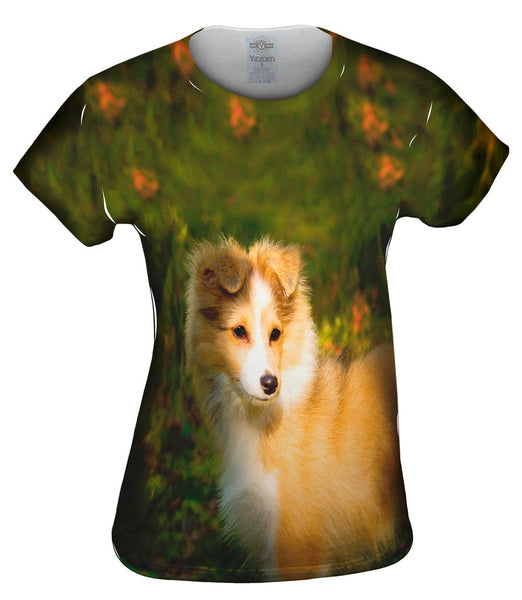 Waggish Sheltie Flowers Womens Top