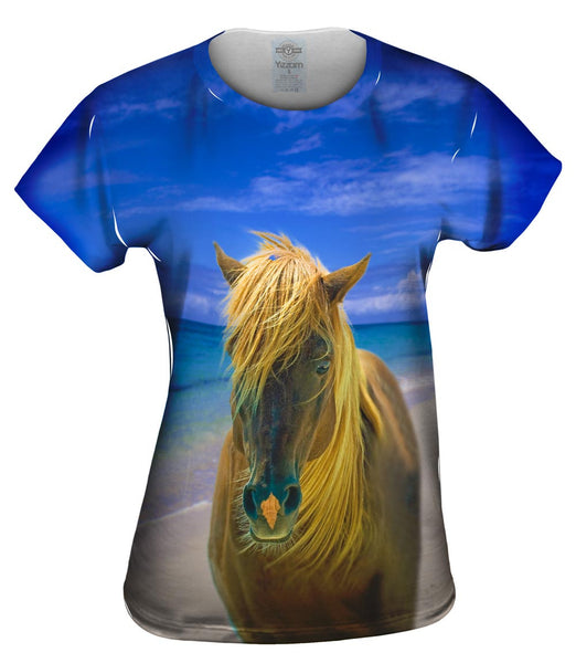 Sand Swept Beach Horse Womens Top