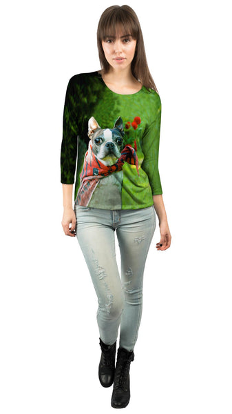 Super Hero Boston Terrier Womens 3/4 Sleeve