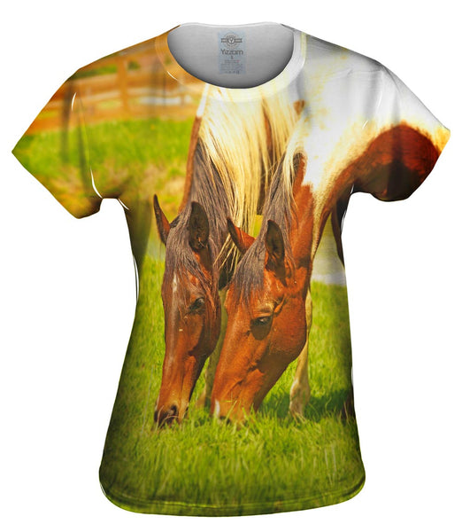 Grass Loves Company Horse Womens Top