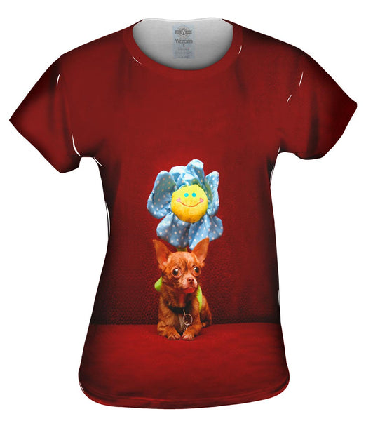 Happy Birthday Flower Chihuahua Womens Top