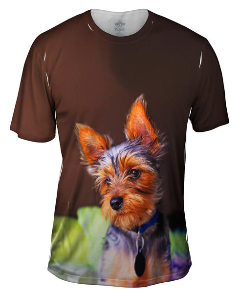 Yorkie In Deep Thought Mens T-Shirt
