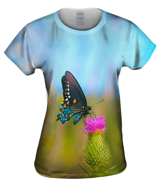 Wispy Black Butterfly Womens Top