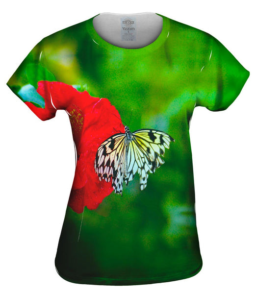 Fanciful White Butterfly Womens Top