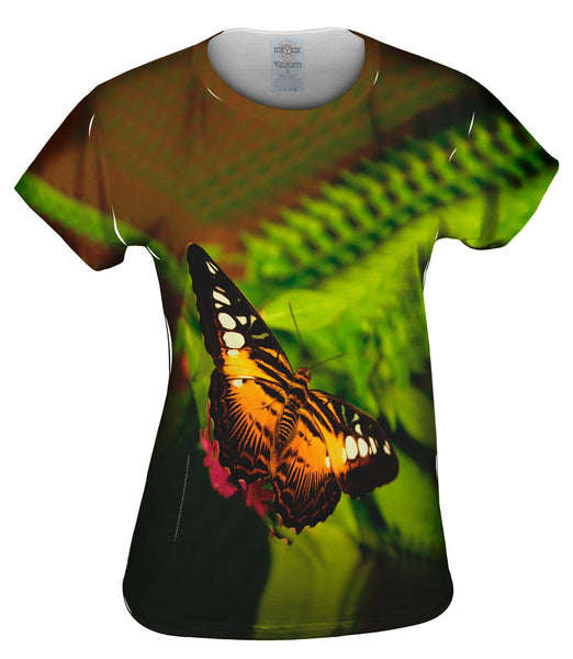 Colorful Dark Orange Butterfly Womens Top