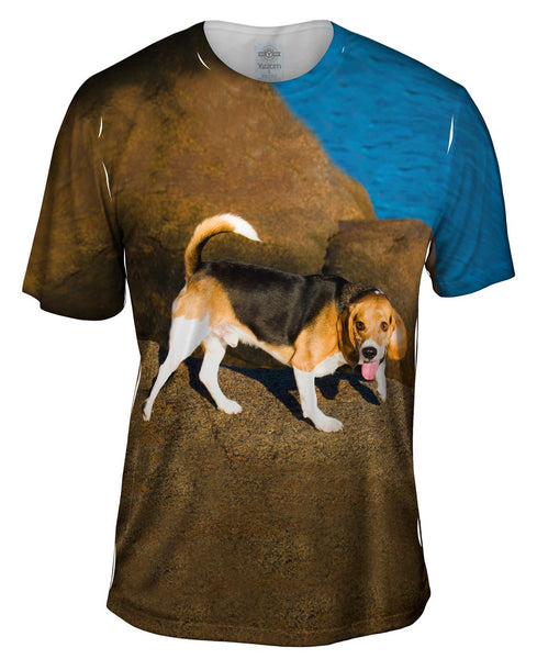 Beagle On Rocks Mens T-Shirt