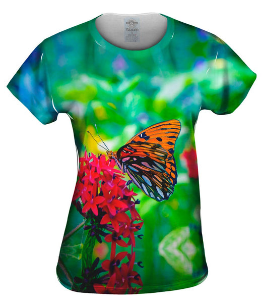Wonderful Orange Spotted Butterfly Womens Top