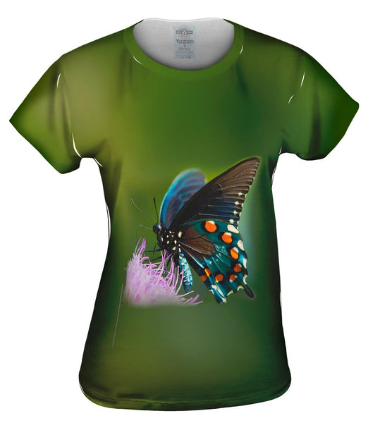 Green Spotted Butterfly Womens Top