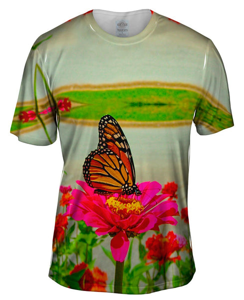 Pink Flower Butterfly Mens T-Shirt