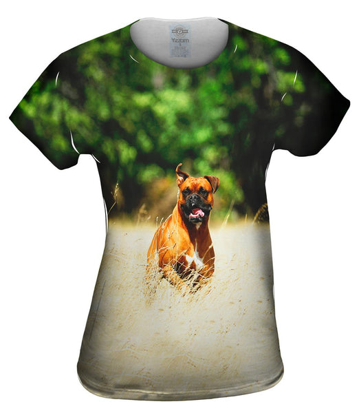 Excited Boxer Sprinting Womens Top
