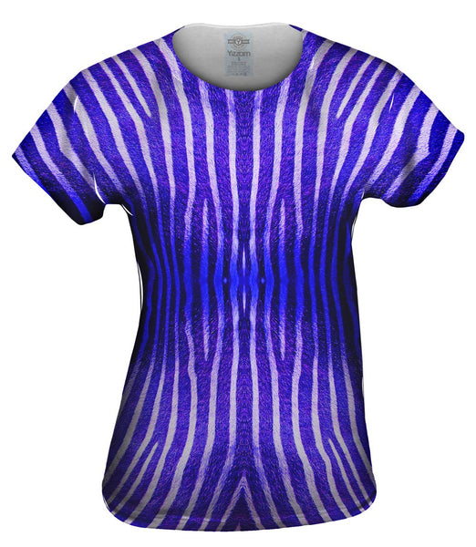 Blue Zebra Stripes Womens Top