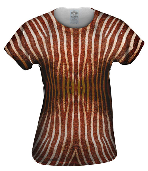 Brown Zebra Stripes Womens Top