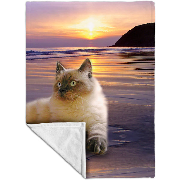 Beach Beauty Kitty Cat Fleece Blanket