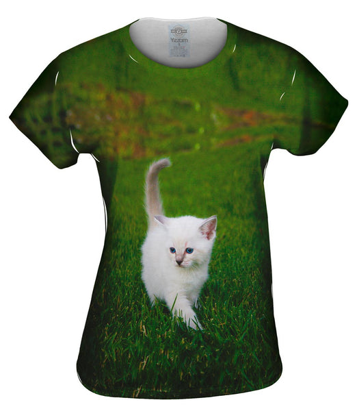 White Lawn Kitty Cat Womens Top