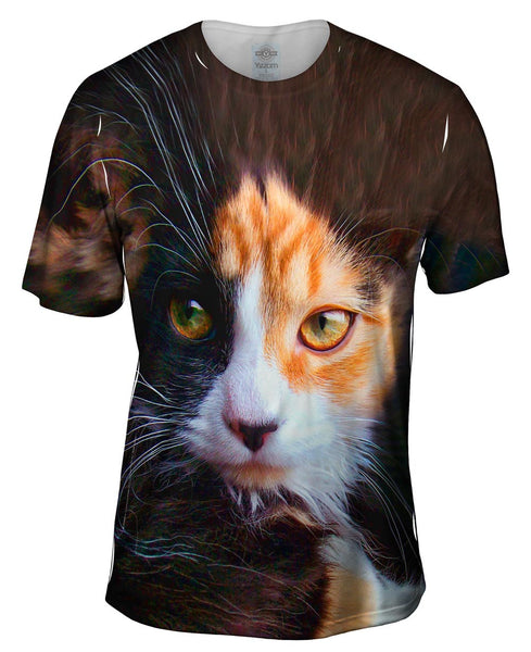 Furry Kitty Cat Face Mens T-Shirt