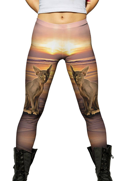 Sphynx Cat Beach Sunset Womens Leggings