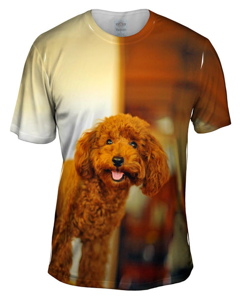 Brown Poodle Loves Life Mens T-Shirt