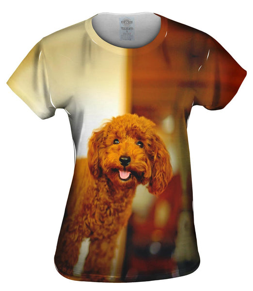 Brown Poodle Loves Life Womens Top