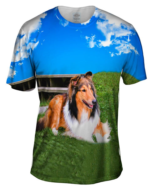 Blue Sky Collie Mens T-Shirt