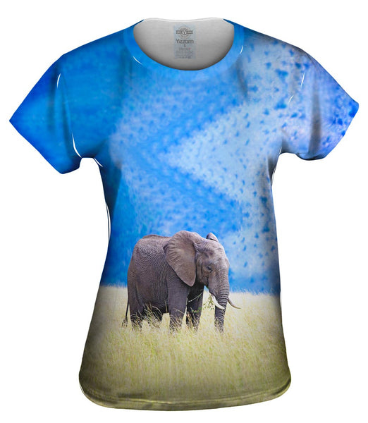 Elephant In Tall Grass Womens Top