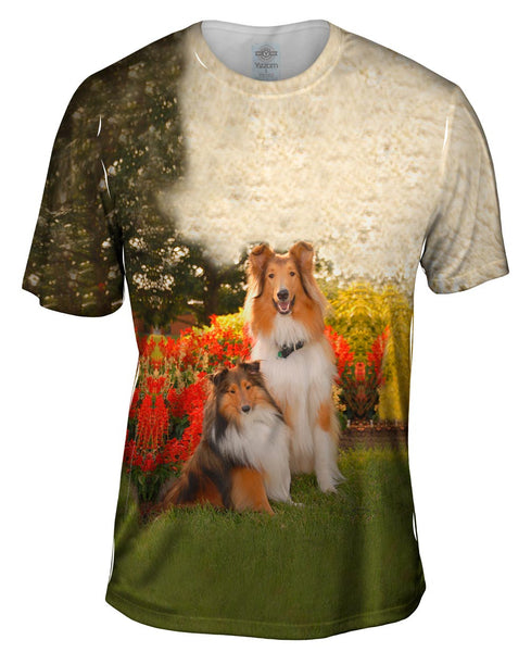 Shelties In Garden Mens T-Shirt