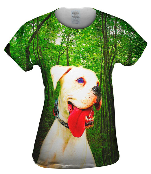 White Dog Red Tongue Womens Top