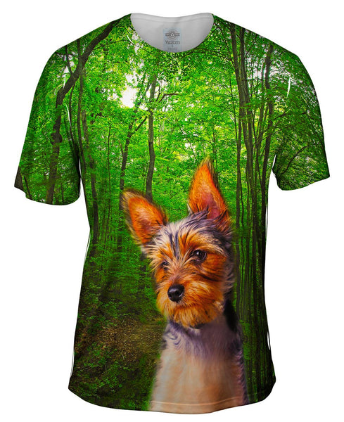 Long Haired Yorkie Forest Mens T-Shirt