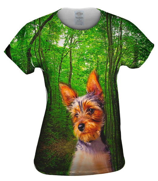 Long Haired Yorkie Forest Womens Top