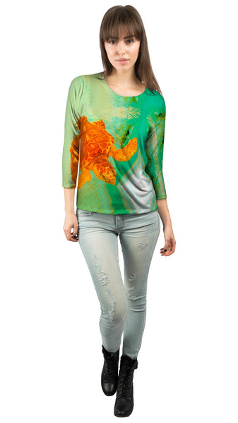 Adorable Orange Turtle Underwater Womens 3/4 Sleeve