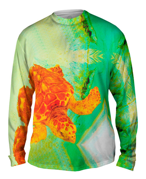 Adorable Orange Turtle Underwater Mens Long Sleeve