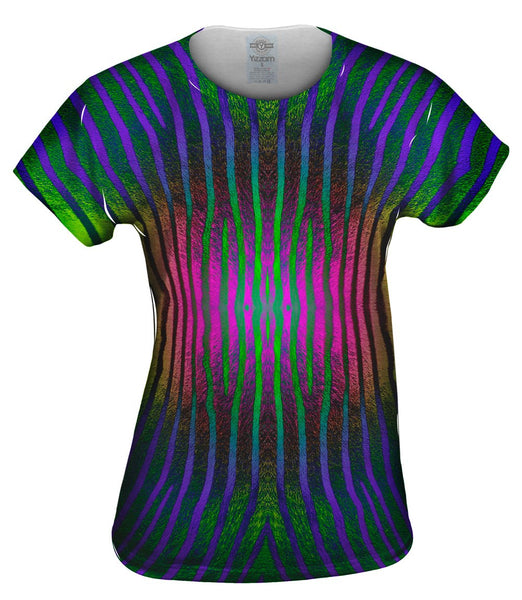 Pink Purple Green Zebra Stripes Womens Top