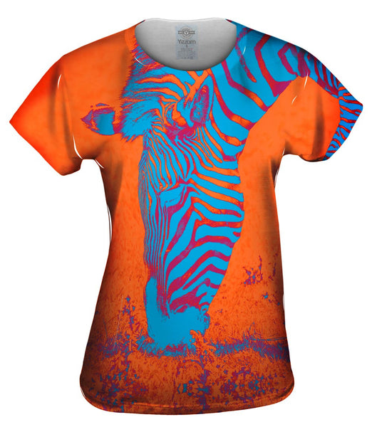 Neon Orange Zebra Womens Top