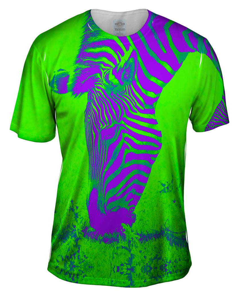 Neon purple green zebra mens t shirt yizzam for Neon green shirts for men