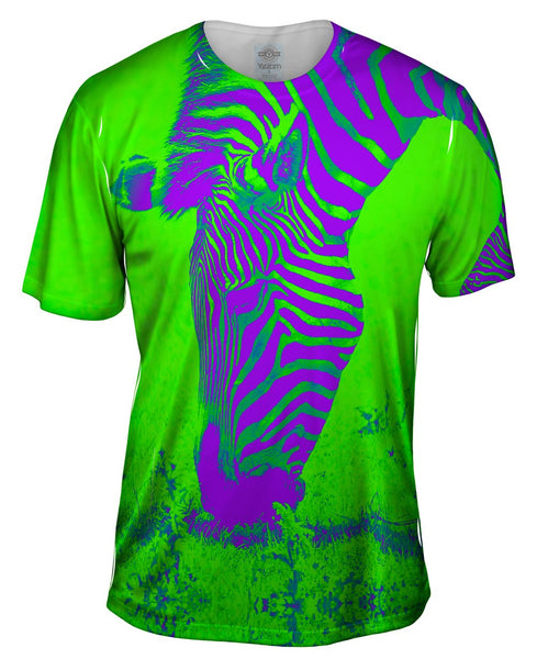 Neon Purple Green Zebra Mens T-Shirt